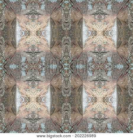 Abstract kaleidoscopic texture or background pattern design made from wood