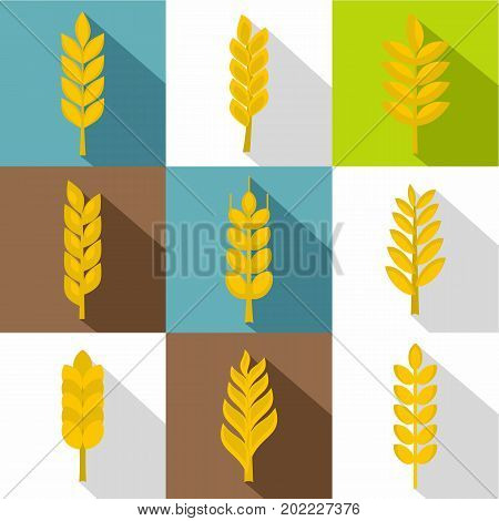 Wheat ears icon set. Flat style set of 9 wheat ears vector icons for web design
