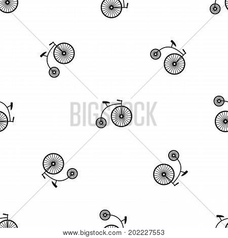 Penny-farthing pattern repeat seamless in black color for any design. Vector geometric illustration