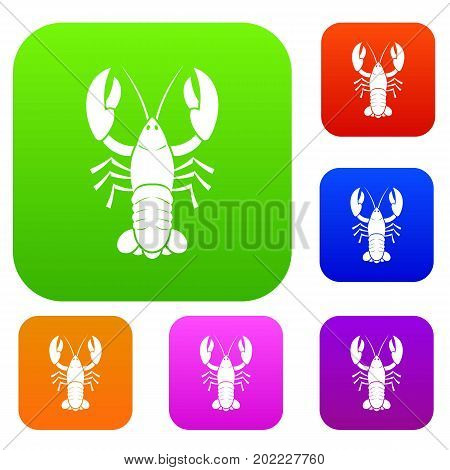 Crawfish set icon in different colors isolated vector illustration. Premium collection