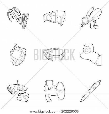 Spy equipment icons set. Outline set of 9 spy equipment vector icons for web isolated on white background