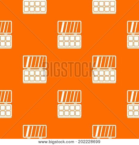 Makeup cosmetics pattern repeat seamless in orange color for any design. Vector geometric illustration