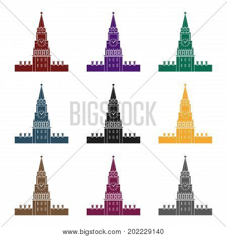 Kremlin icon in black design isolated on white background. Russian country symbol stock vector illustration.