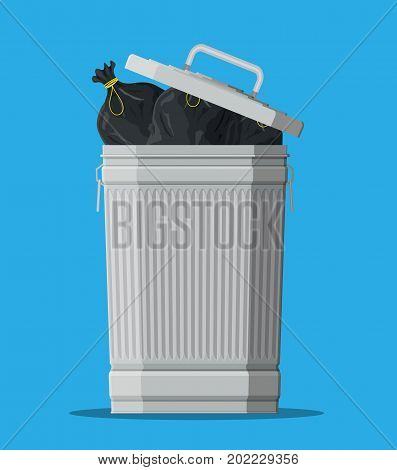Huge waste trash can isolated on blue. Bin full of plastic bags with garbage. Metal bucket. Garbage recycling and utilization equipment. Waste management. Vector illustration in flat style