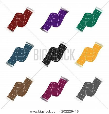 Beautiful two-tone scarf.Scarf with her ropes on the ends.Scarves and shawls single icon in black style vector symbol stock web illustration.