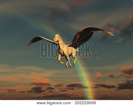 3d illustration of a pegasus and a rainbow