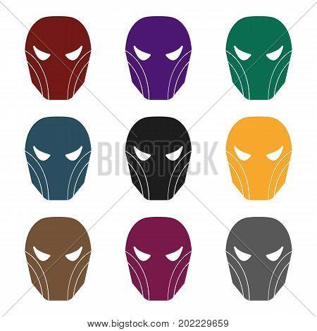 Superhero's helmet icon in black style isolated on white background. Superhero's mask symbol vector illustration.