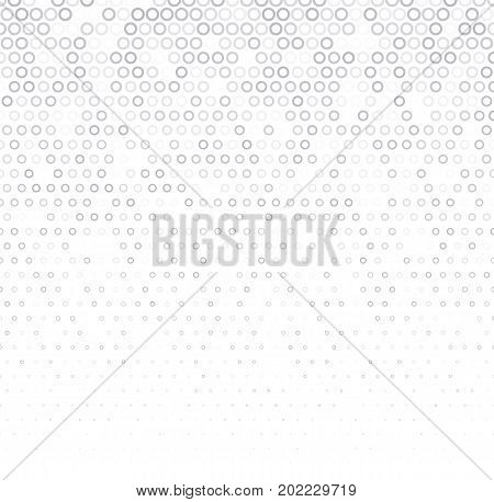 Vector halftone abstract background, grey white texture, gradient gradation. Geometric mosaic circle shapes monochrome pattern. Simple silver backdrop design.