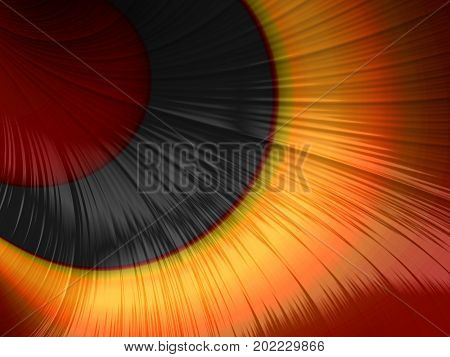 Digitally created fractal image in red black and orange resembling close-up of a cat's eye
