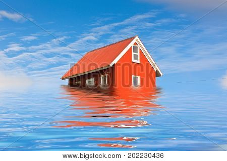 Bright Red Siding House in water flood. Blue sky background