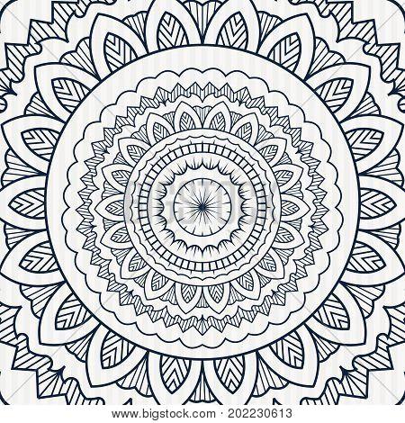 Circular Vintage Mandala Poster. Spiral Ornament Pattern Backdrop. Line Art Medallion Sign.vintage O