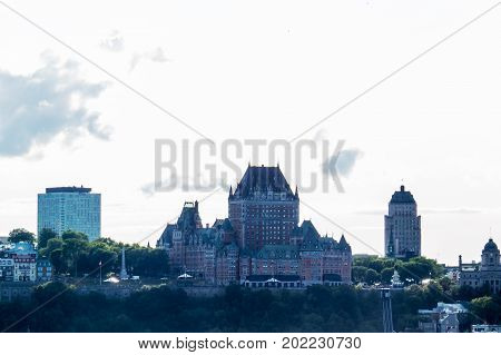 The Chateau Frontenac and a part of Quebec City during a bright day of summer.