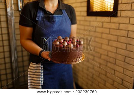 A woman wearing a blue apron is holding a chocolate cake on a light brown stones background. A female with baked round cake with healthy berries and chocolate layers on a wall background. Sweet snack.