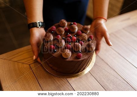 A view from above of a woman's hands holding of a delicious chocolate cake with a creamy layer on a wooden background. A round cake with ripe raspberries and black currant on a top. Sweet snacks.