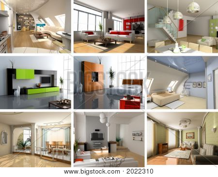 modern interiors images design set (computer generated image 3D) poster