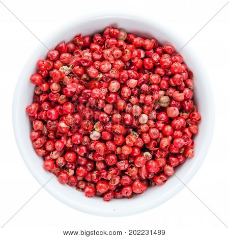 Pink Peppercorns Isolated On White Background