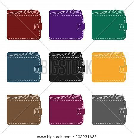 Black leather purse with money dollar. Taxi payment means. Taxi station single icon in black style vector symbol stock web illustration. poster