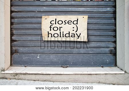 Shop Closed For Holidays