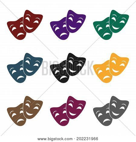 Theater masks icon in  black style isolated on white background. Theater symbol vector illustration