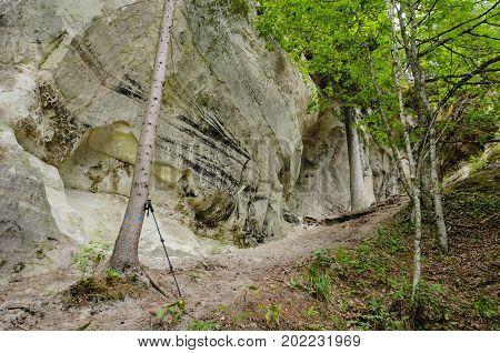 The white sandstone outcrops. Sietiniezis Rock Latvia.