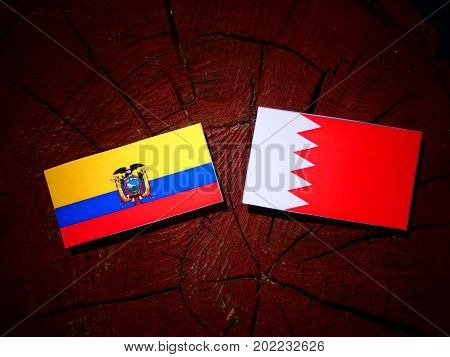 Ecuador Flag With Bahraini Flag On A Tree Stump Isolated