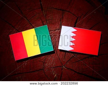 Guinean Flag With Bahraini Flag On A Tree Stump Isolated
