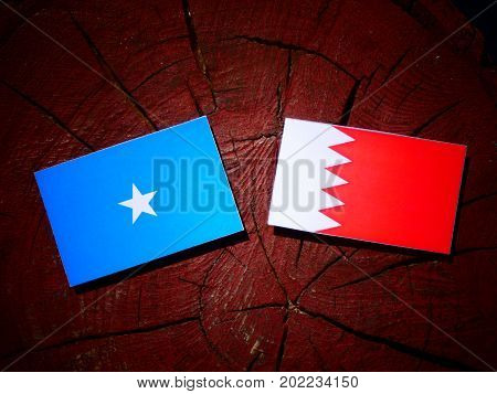 Somalian Flag With Bahraini Flag On A Tree Stump Isolated