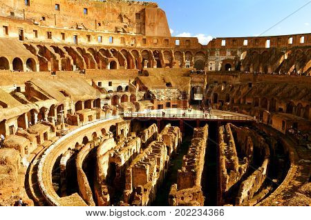 Rome Italy,November 7th 2013.The interior of the Roman Colosseum in Rome Italy.A wonder of the world still visited by people from all over the world.Come to Rome and explore.