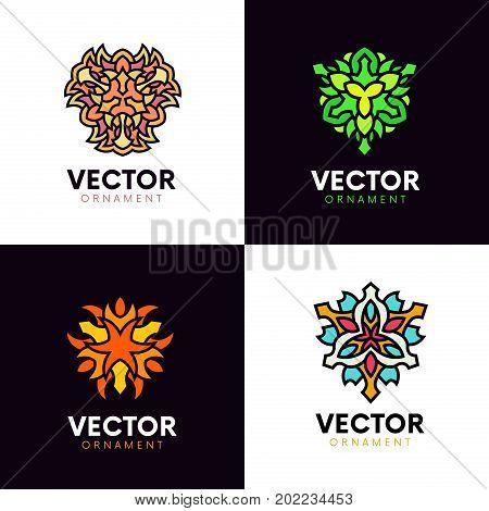 Set Of Flat Logo Ornaments. Creative Elegant Tracery Symbols.