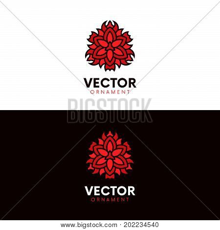 Clean Flower Rose Logo Ornament. Flat Blossom Tracery Vector Design.