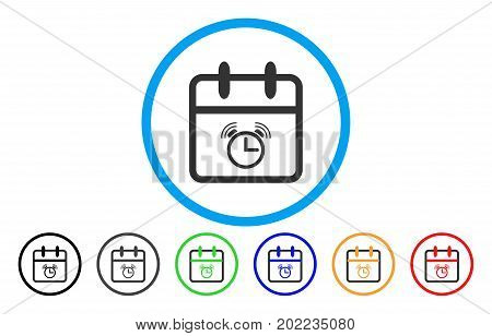 Alarm Day vector rounded icon. Image style is a flat gray icon symbol inside a blue circle. Additional color versions are grey, black, blue, green, red, orange.