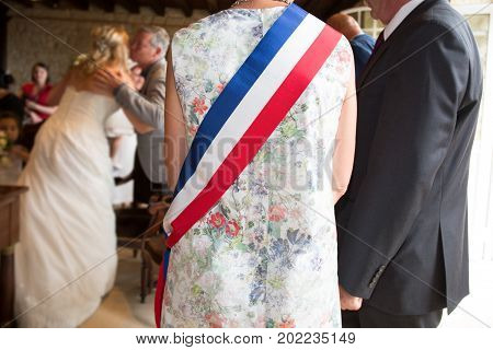 Mayor Girl Seen From Behind At A Wedding Ceremony In France