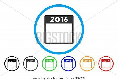 2016 Year Calendar Template vector rounded icon. Image style is a flat gray icon symbol inside a blue circle. Bonus color variants are grey, black, blue, green, red, orange.