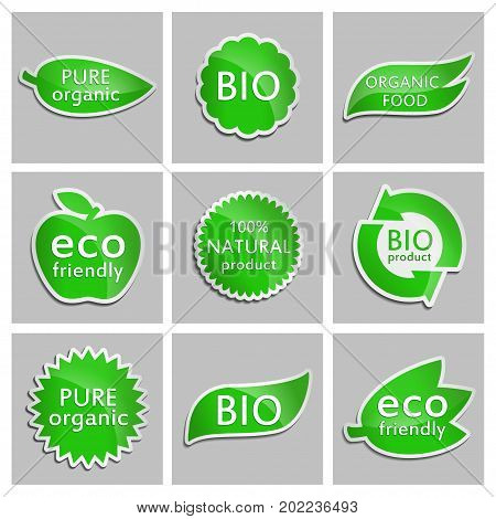 Green sticker Eco friendly Bio Pure organic Organic food Natural product BIO product. Set. Vector Natural product icon for packaging design web-design booklets logo creation design