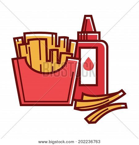 Fried potato in red cardboard box and plastic bottle of tasty ketchup with dispenser isolated cartoon flat vector illustration on white background. Delicious fast food meal with high calories contain.
