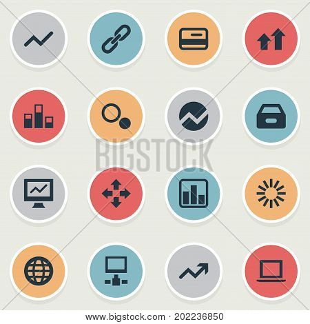 Elements Data, Spreading Chart, Database And Other Synonyms Radial, Link And Globe.  Vector Illustration Set Of Simple Analysis Icons.