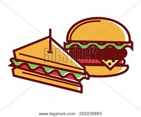 Homemade sandwich and hamburger from fastfood isolated cartoon vector illustration on white background. Delicious snack with meat and vegetables made at home and from cafe with high calories contain.
