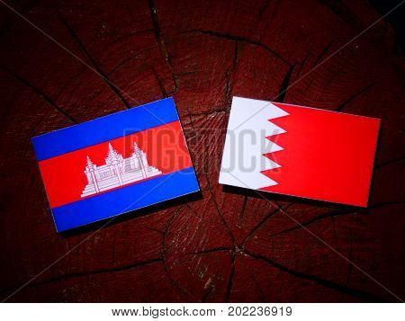 Cambodian Flag With Bahraini Flag On A Tree Stump Isolated