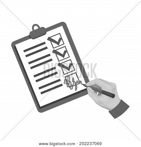 Signature of the delivery document. Logistics and delivery single icon in monochrome style isometric vector symbol stock illustration .
