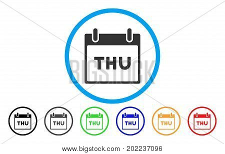Thursday Calendar Page vector rounded icon. Image style is a flat gray icon symbol inside a blue circle. Additional color variants are gray, black, blue, green, red, orange.