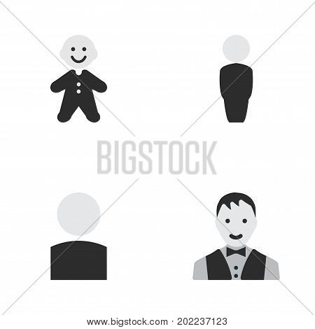 Elements Person, Guy, Male And Other Synonyms Person, Guy And Man.  Vector Illustration Set Of Simple Person Icons.