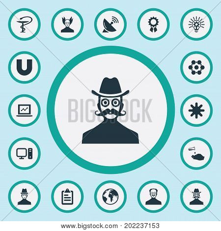 Elements Chemical, Checklist, Innovation And Other Synonyms Investigator, Teacher And Hand.  Vector Illustration Set Of Simple Science Icons.
