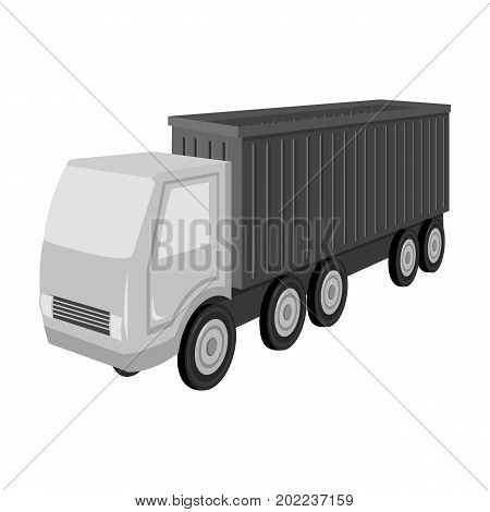 A large truck for the transport of goods. Transportation and delivery single icon in monochrome style isometric vector symbol stock illustration .