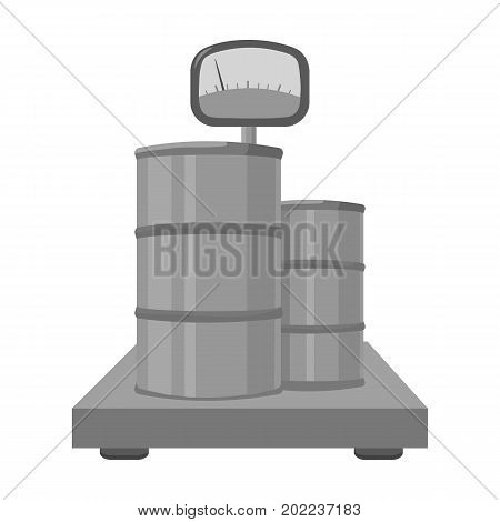 Weighing the load on the scales. Shipping and accounting single icon in monochrome style isometric vector symbol stock illustration .