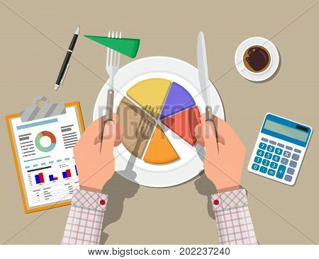 Businessman hands with knife and fork cut chart pie peace. Clipboard with financial reports, calculator, coffee cup, pen. Business concept. Vector illustration in flat design