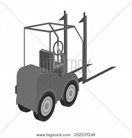 Loader for moving loads. Transportation and delivery single icon in monochrome style isometric vector symbol stock illustration .