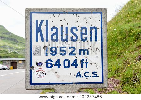 Road Indicator Of Klausen Pass On The Swiss Alps