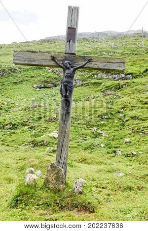 Klausen pass Switzerland - 3 August 2017: Crucifix at the pass of Klausen on the Swiss alps