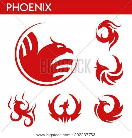 Phoenix bird red logo templates set. Mythic firebird with spread wings symbol of flame fire phoenix bird for business sign or tattoo design. Vector isolated icons set