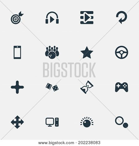 Elements Gambling, Update, Phone And Other Synonyms Arrow, Loading And Joystick.  Vector Illustration Set Of Simple Play Icons.